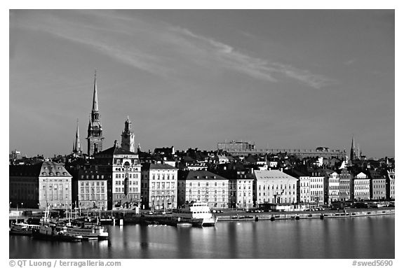 black and white picture photo view of gamla stan across salsjon stockholm sweden. Black Bedroom Furniture Sets. Home Design Ideas