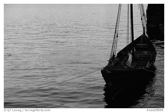 Replica of a Viking boat. Stockholm, Sweden (black and white)