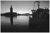Fishing boat and Stadshuset. Stockholm, Sweden ( black and white)