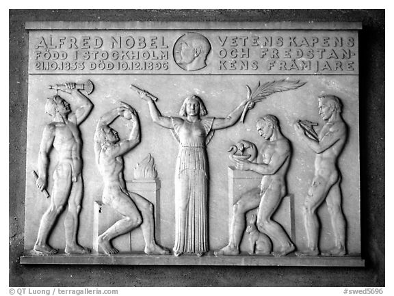 Bas relief in the Stadshuset commemorating Alfred Nobel. Stockholm, Sweden (black and white)