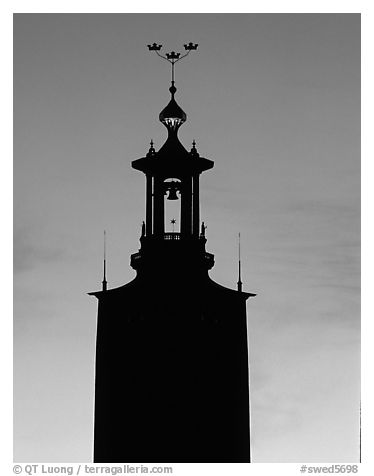 Tower of the Stadshuset. Stockholm, Sweden (black and white)