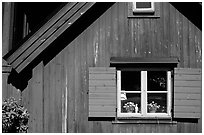 Detail of a red house. Stockholm, Sweden ( black and white)