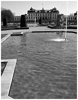 Basin in royal residence of Drottningholm. Sweden (black and white)