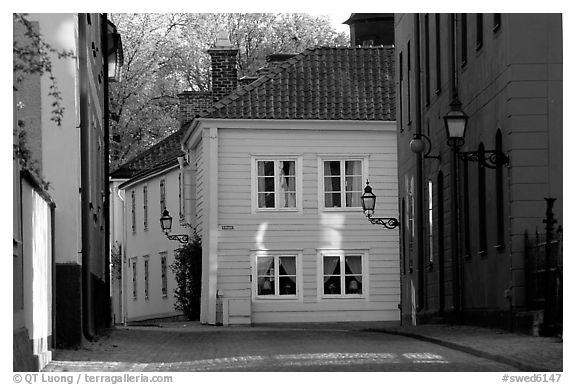 Streets in old town, Vadstena. Gotaland, Sweden (black and white)