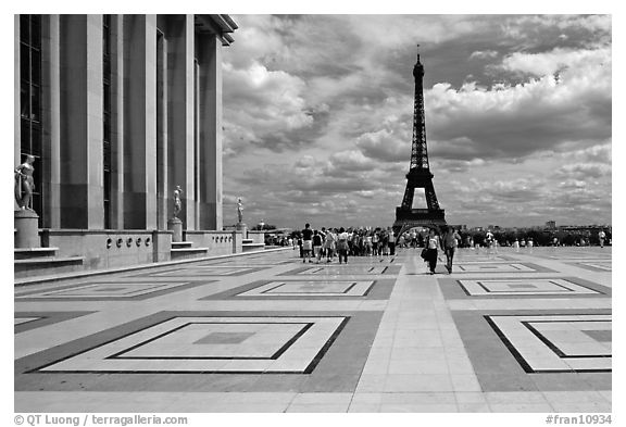 Eiffel tower seen from the marble surface of Parvis de Chaillot. Paris, France (black and white)