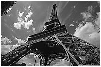 Wide view of Eiffel tower from its base. Paris, France ( black and white)