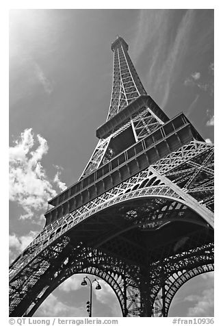 Eiffel tower seen from the base. Paris, France (black and white)