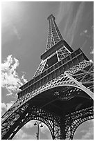 Eiffel tower seen from the base. Paris, France ( black and white)