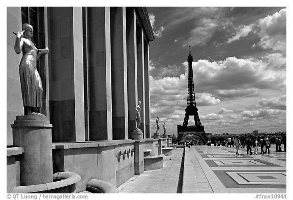 Maillol sculpture, Palais de Chaillot, and Eiffel tower. Paris, France (black and white)