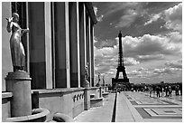 Maillol sculpture, Palais de Chaillot, and Eiffel tower. Paris, France ( black and white)