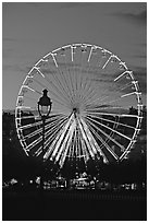 Ferris wheel in the jardin des Tuileries at sunset. Paris, France (black and white)