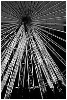Lighted Ferris wheel in the Tuileries garden. Paris, France (black and white)