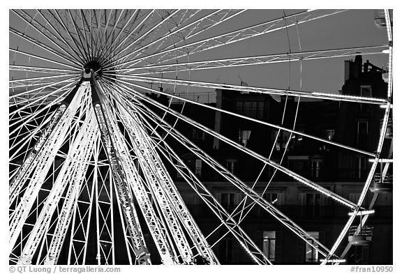 Lighted Ferris wheel in the Tuileries. Paris, France (black and white)