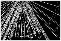 Detail of Ferris wheel at night, Tuileries. Paris, France (black and white)