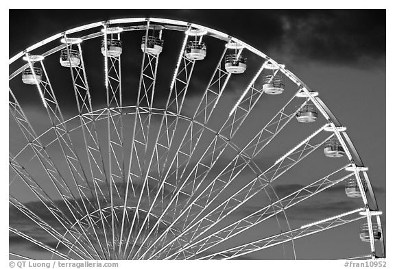 Detail of Ferris wheel at dusk, Tuileries. Paris, France (black and white)