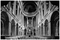 First floor of the Versailles palace chapel. France (black and white)