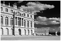 Versailles Palace facade in classical style. France (black and white)