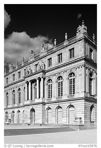 Facade of the Versailles palace, late afternoon. France (black and white)