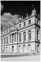 Facade of the Versailles palace, late afternoon. France ( black and white)