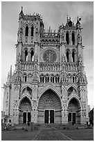 Cathedral facade, Amiens. France (black and white)