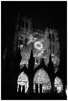 Cathedral facade illuminated at night, Amiens. France (black and white)