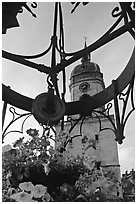 Flowers and clock tower,  Amiens. France ( black and white)