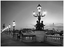 Lamps on Alexandre III bridge at sunset. Paris, France ( black and white)