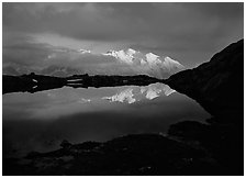 Mont Blanc range reflected in pond at sunset, Chamonix. France ( black and white)