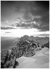 Midi-Plan ridge, Aiguille Verte, Droites, and Courtes at sunrise, Chamonix. France (black and white)