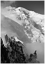 Cosmiques ridge and North Face of Mont Blanc, Chamonix. France (black and white)