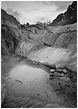 Glacial Pond on Mer de Glace glacier, Chamonix. France (black and white)