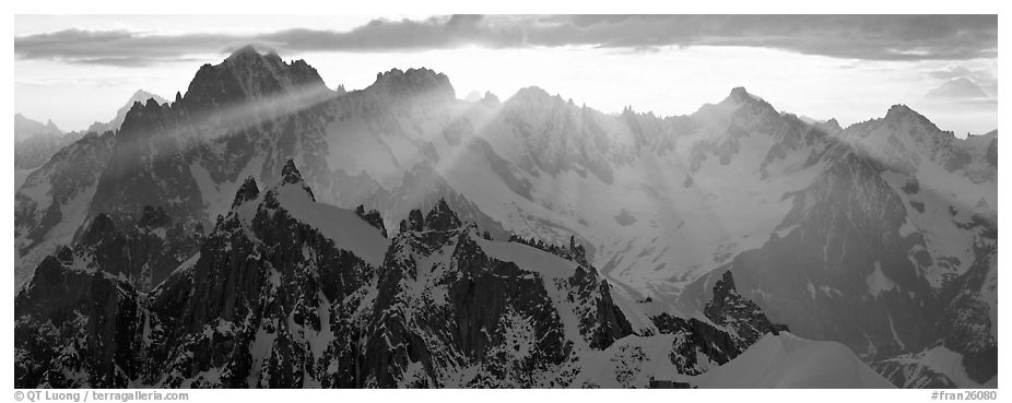 Rugged peaks of the Mont-Blanc Range. France (black and white)