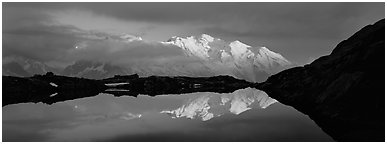 Mountain scenery with high peak reflected at sunset, Mont-Blanc. France (Panoramic black and white)