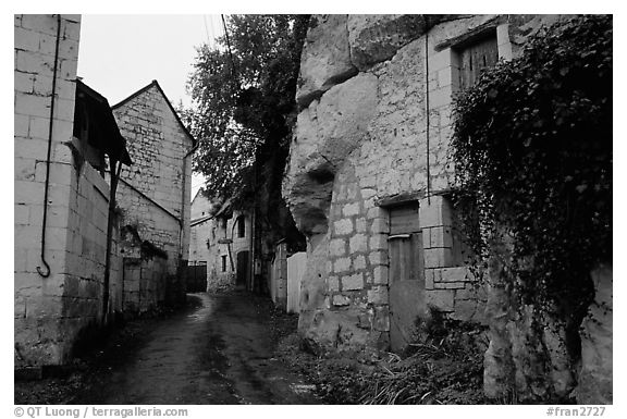 Troglodyte houses. Loire Valley, France (black and white)