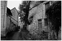 Troglodyte houses. Loire Valley, France ( black and white)