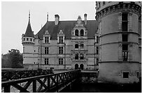Azay-le-rideau chateau entrance. Loire Valley, France (black and white)