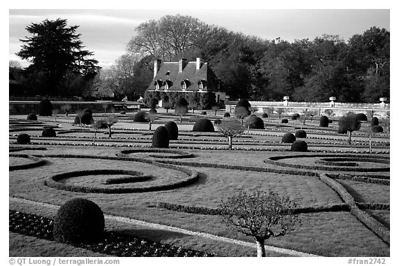 Gardens of Chenonceaux chateau. Loire Valley, France (black and white)