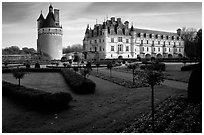 Chenonceaux chateau and gardens. Loire Valley, France (black and white)