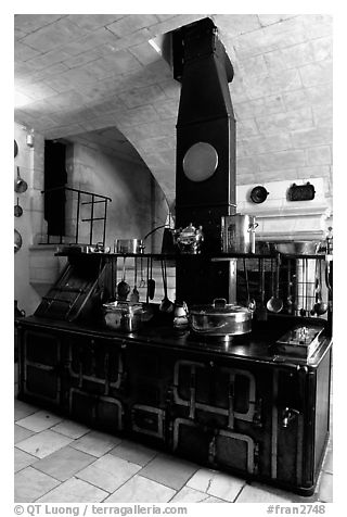 Kitchen of the Chenonceaux chateau. Loire Valley, France (black and white)