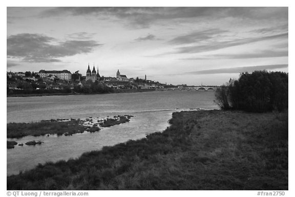 Blois across the Loire River. Loire Valley, France (black and white)