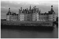 Chambord chateau at dusk. Loire Valley, France (black and white)
