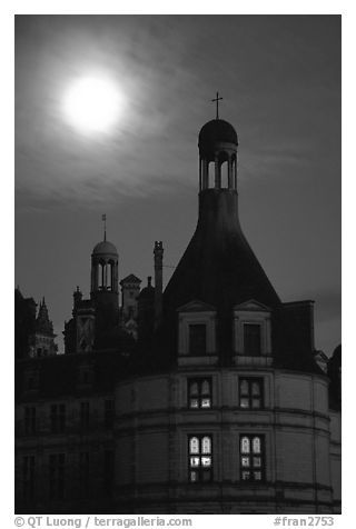 Detail of Chambord chateau with moon. Loire Valley, France (black and white)