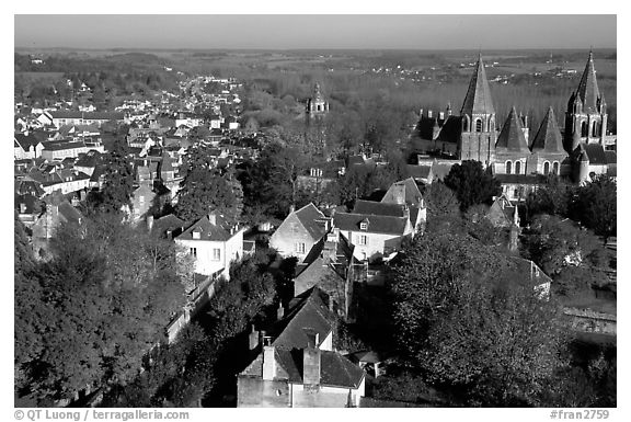 View of Loches from the dungeon. Loire Valley, France (black and white)