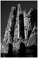 Front of Saint-Etienne Cathedral with stormy sky. Bourges, Berry, France ( black and white)