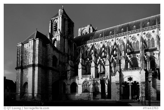 Bourges Cathedral before storm. Bourges, Berry, France (black and white)