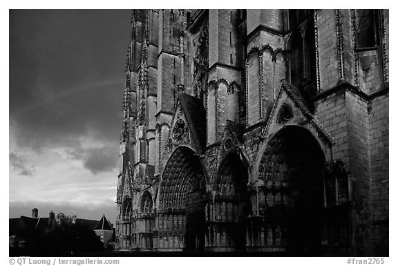 Cathedrale  Saint-Etienne de Bourges  and rainbow. Bourges, Berry, France (black and white)
