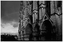 Cathedrale  Saint-Etienne de Bourges  and rainbow. Bourges, Berry, France ( black and white)