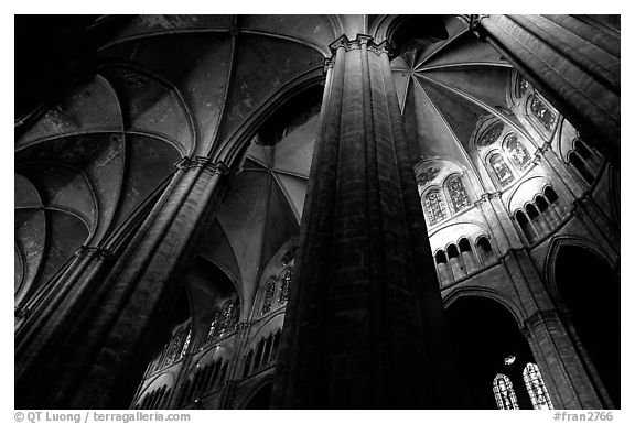 Soaring gothic columns, Saint-Etienne Cathedral. Bourges, Berry, France (black and white)