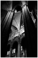 Columns inside Saint-Etienne Cathedral. Bourges, Berry, France (black and white)