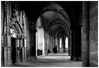 Outer  aisle,  the Saint-Etienne Cathedral. Bourges, Berry, France (black and white)